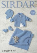 Sirdar Snuggly 4ply - 4686 Jacket, Helmet, Bootees & Blanket Knitting Pattern